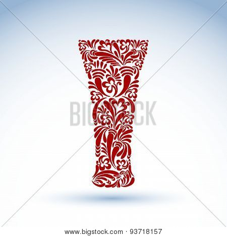 Glass decorated with abstract floral pattern and isolated on white background. Flowery art glassware
