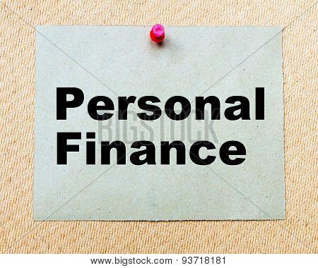 Personal Finance Written On Paper Note
