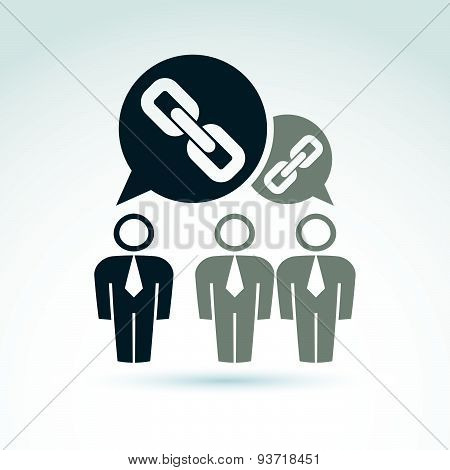 Teamwork and business team with chain link icon, linked social relations, organization, vector