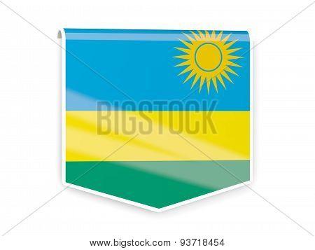 Flag Label Of Rwanda