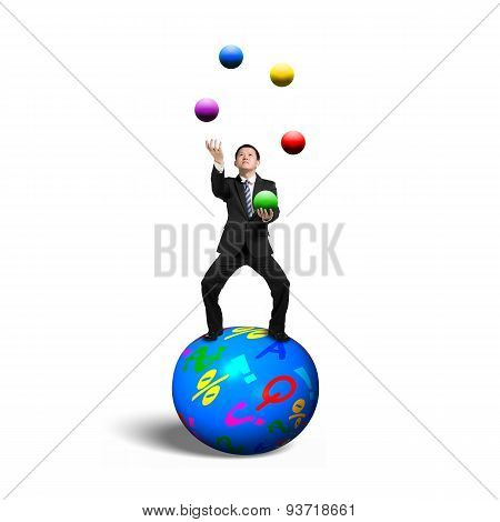 Businessman Balancing On Sphere Juggling With Balls