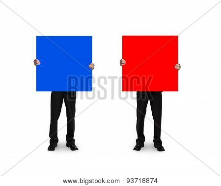 One Man Holding Blue Board Another Holding Red Board