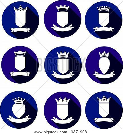 Decorative coat of arms, protection theme symbols. Heraldry, stylish award design elements isolated