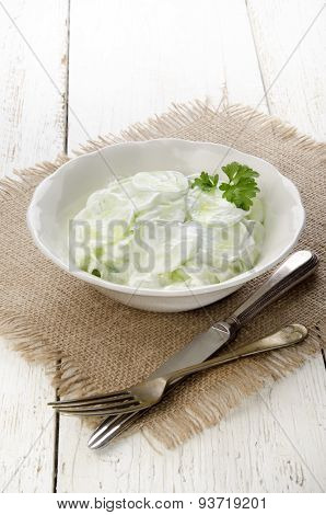 Cucumber Salad With Sour Cream And Parsley