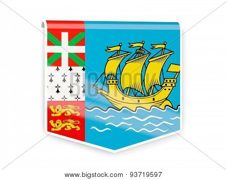 Flag Label Of Saint Pierre And Miquelon