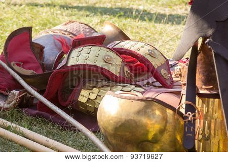 Ancient Roman Armor Of Leather And Metal Lying On Ground