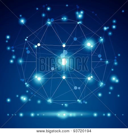 Abstract vector 3D wireframe object, clear eps 10.