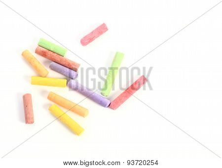 Colored Chalk Isolated On White Background