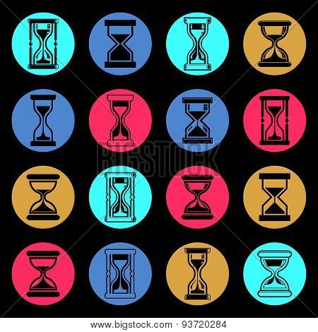 Stylized sand-glass illustrations. Set of antique classic hourglasses, clocks collection. Time idea