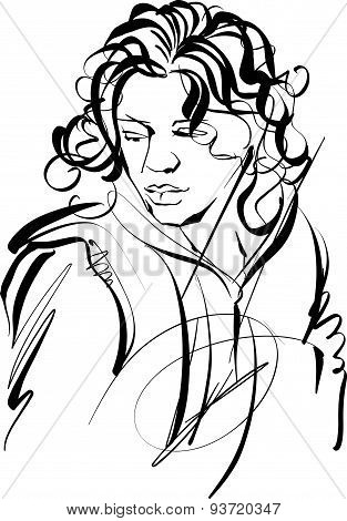 Monochrome hand drawn illustration of woman, girl with curly hair.