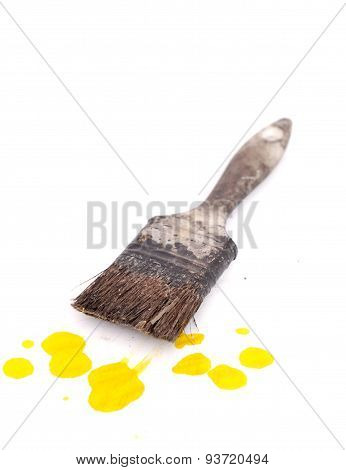 Old Used Paint Brush And Sponge