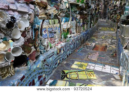 PHILADELPHIA, PENNSYLVANIA - MAY 22, 2015: The Philadelphia Magic Gardens is a unique destination in the artistic district along South Street.