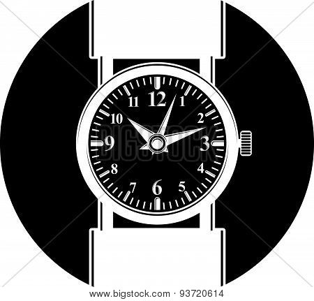 Simple wristwatch graphic illustration, classic hour hand symbol. Time management idea design