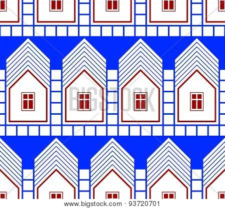 Abstract houses and cottages continuous background, real estate theme.  District idea seamless patte