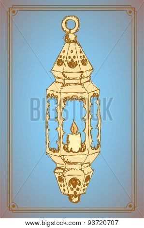 Sketch Ramadan Lantern In Vintage Style