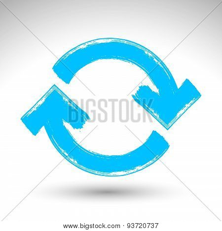 Hand-painted blue update sign isolated on white background, simple hand drawn repeat navigation icon