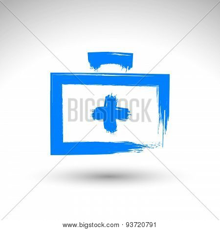 Brush drawing simple blue first aid kit, medicine icon, created with real hand drawn ink brush