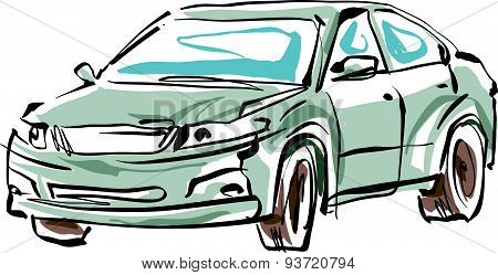 Colored hand drawn car on white background, illustration of sedan.