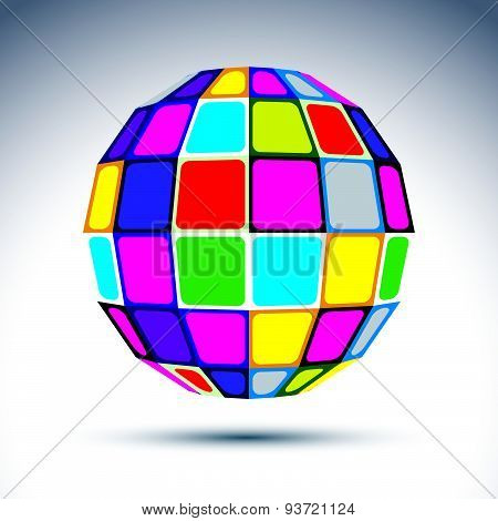 Vector dimensional modern abstract object, 3d disco ball. Psychedelic vivid globe created with color