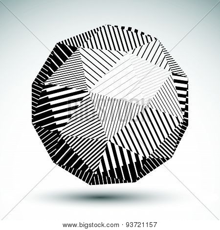 Abstract 3D rounded vector contrast figure constructed from striped isosceles triangles.