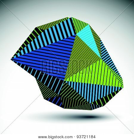 Multifaceted asymmetric contrast figure with parallel lines. Striped colorful misshapen abstract vec
