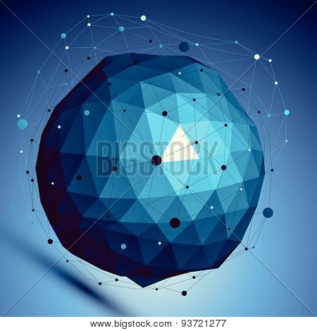 Blue spatial vector digital lattice backdrop, dimensional technology sphere with asymmetric wire mes