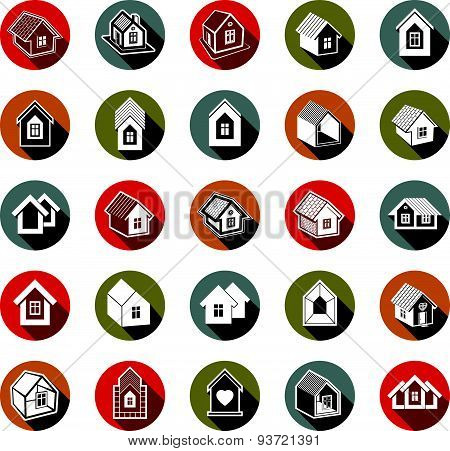 Houses abstract icons, can be used in advertising and as branding in real estate business and constr