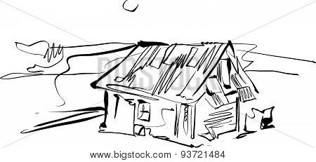 Black and white hand drawn house, illustration of country house.