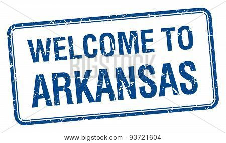 Welcome To Arkansas Blue Grunge Square Stamp