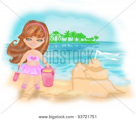 Little Girl At Tropical Beach Making Sand Castle