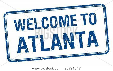 Welcome To Atlanta Blue Grunge Square Stamp
