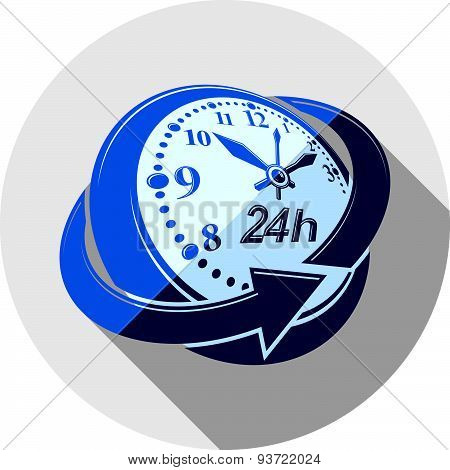 24 hours-a-day interface icon, vector 3d clock. Time is running out idea symbol isolated on white, f