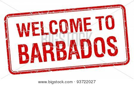 Welcome To Barbados Red Grunge Square Stamp