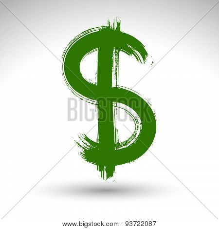 Hand-painted yellow dollar icon isolated on white background, currency symbol created with real ink