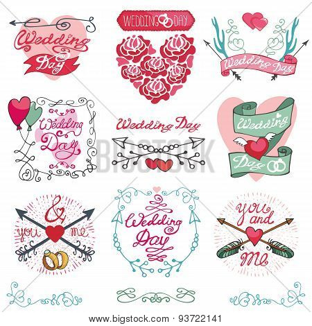 Wedding emblems set.Invitations,Labels,decor element kit