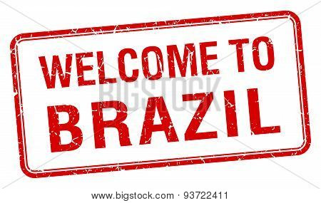 Welcome To Brazil Red Grunge Square Stamp