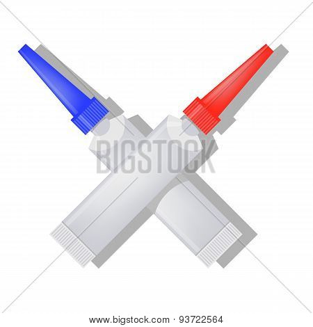 Two Metalic Tubes of Glue