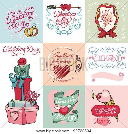 Wedding card set.Invitations,Labels,decor element kit