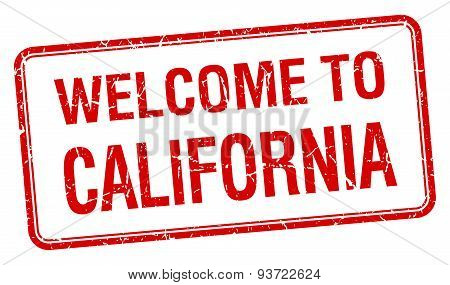 Welcome To California Red Grunge Square Stamp