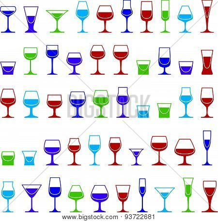 Drinking glasses collection, martini, wineglass, cognac, whiskey and champagne. Alcohol theme