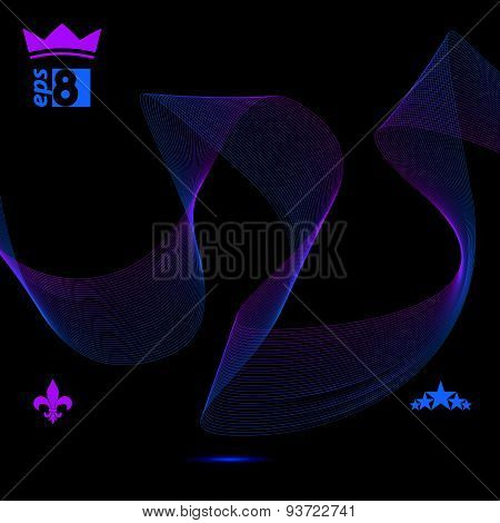 Delicate 3d flowing stripy lines, dreamy vector abstract background with web design elements, motif
