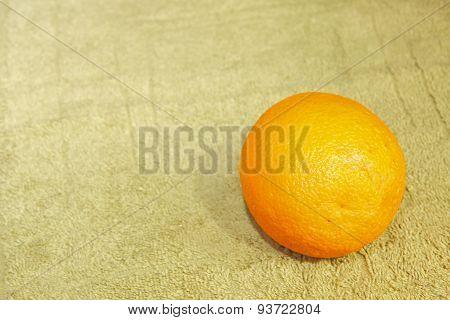 Ripe Orange Fruit On Fabric Napkin.