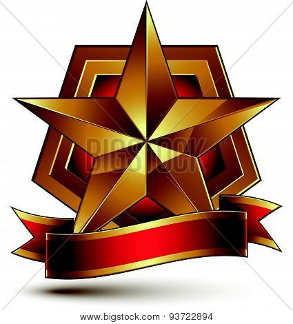3d golden heraldic blazon with red filling and glossy pentagonal star, best for web and graphic desi