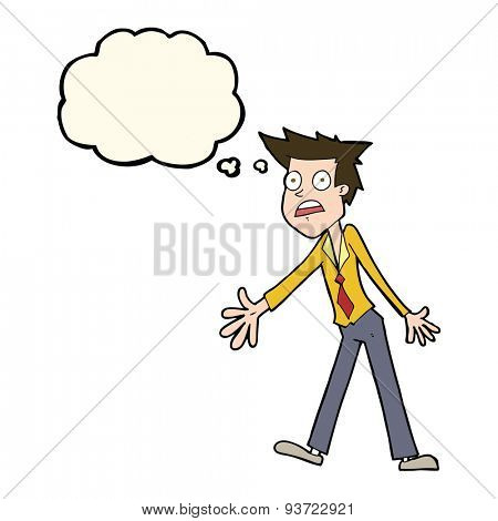 cartoon stressed man with thought bubble
