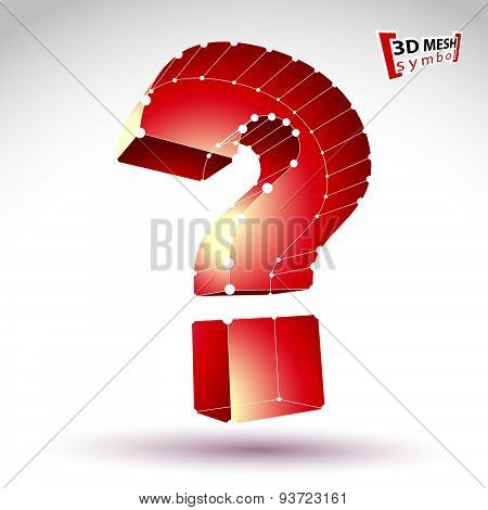3d mesh stylish web question mark sign isolated on white background, colorful query icon