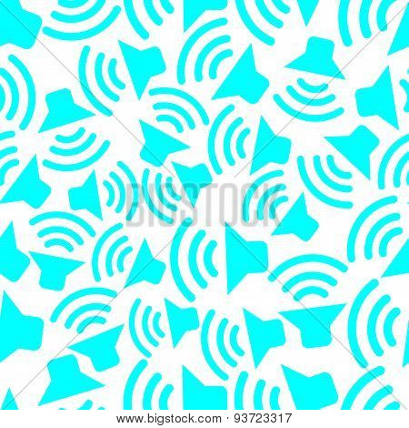 Continual vector background with colorful podcast symbols. Seamless pattern with megaphones