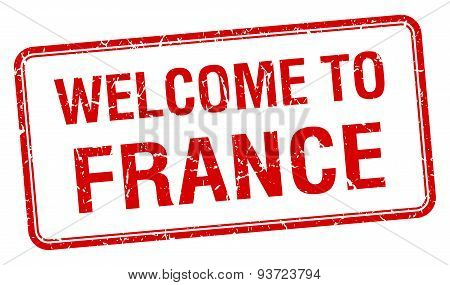 Welcome To France Red Grunge Square Stamp