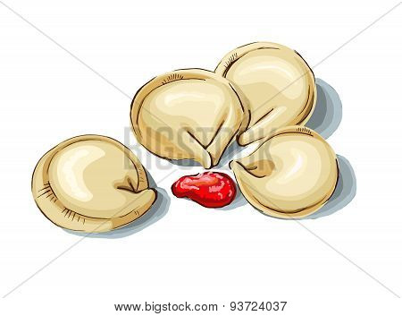 Dumplings And Parsley, Russian Pelmeni, Italian Ravioli Isolated On White Background