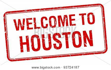 Welcome To Houston Red Grunge Square Stamp