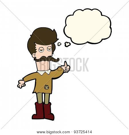 cartoon old man in poor clothes with thought bubble